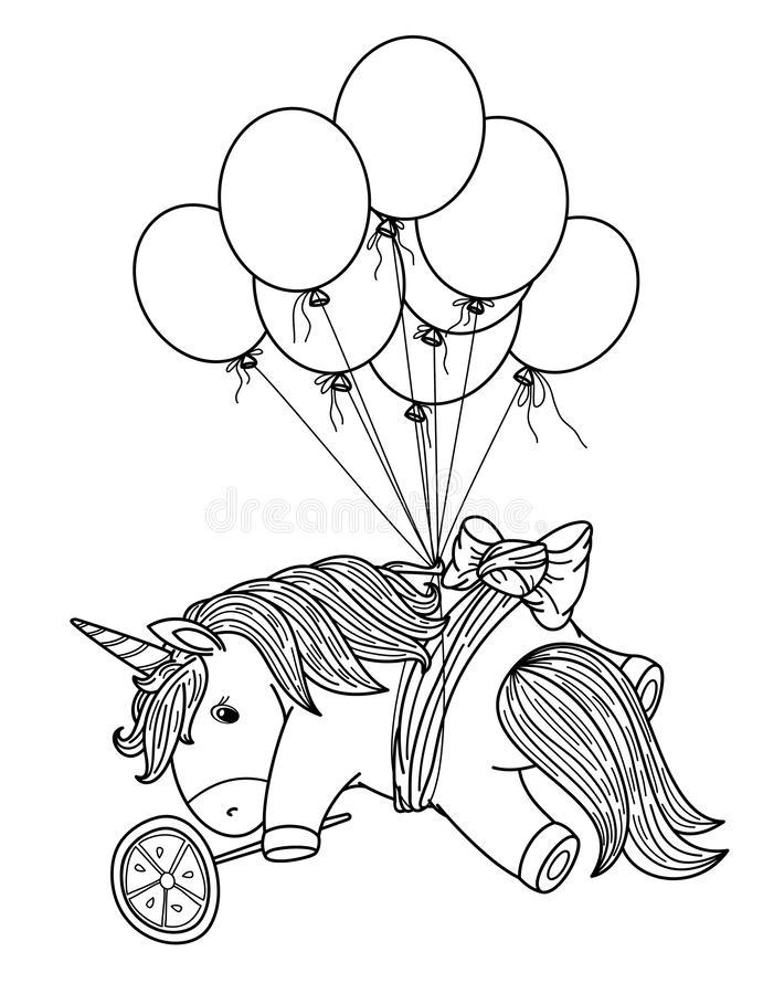 Gullig enhörning för vektor med ballonger, svart kontur stock illustrationer