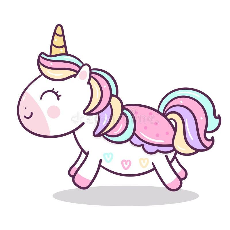 Gullig enhörningvektor, pastellfärgad färg för ponnytecknad film, Kawaii djur, barnkammaregarnering, dragen klotterhand vektor illustrationer