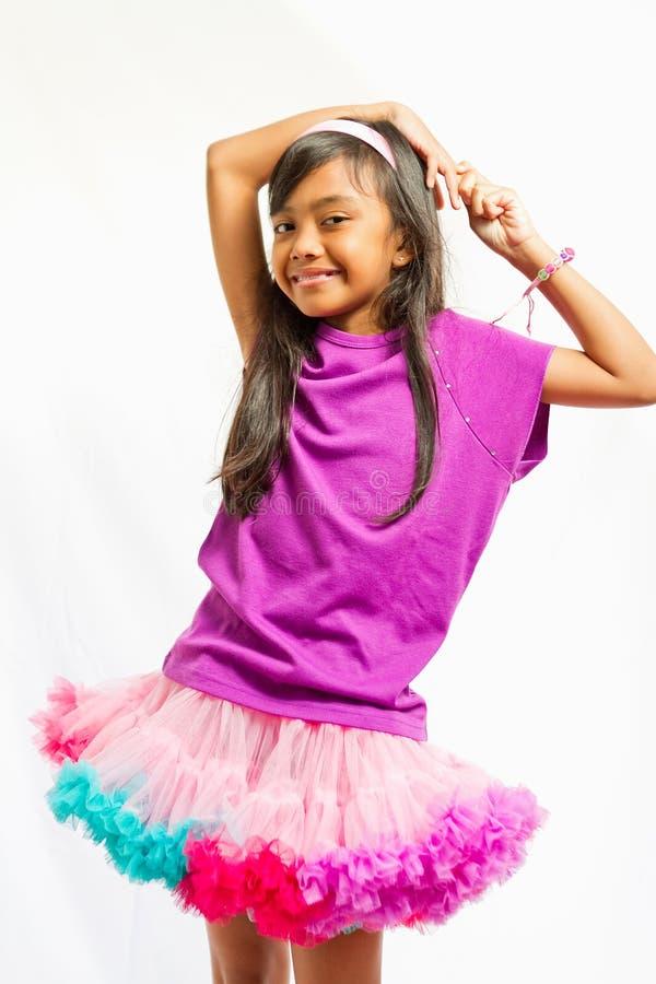 gullig etnisk tutu för flickaståendeskirt royaltyfri fotografi