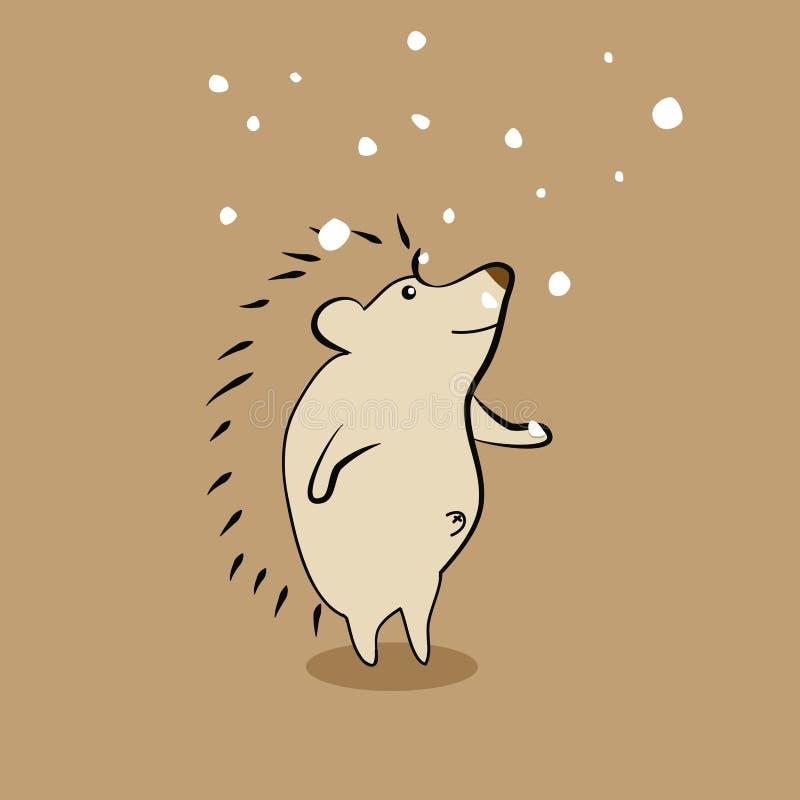 Gullig ett piggsvin med snö royaltyfri illustrationer