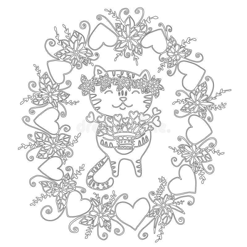 Gullig färgläggningbok med en katt och blommor för barn och vuxen människa royaltyfri illustrationer
