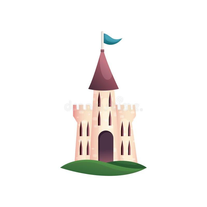 Gullig färgrik medeltida slott med den blåa flaggan och det dubbla tornet vektor illustrationer