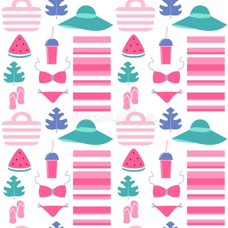 Gullig färgrik sömlös illustration för vektormodellbakgrund med strandkläder och sommarbeståndsdelar vektor illustrationer