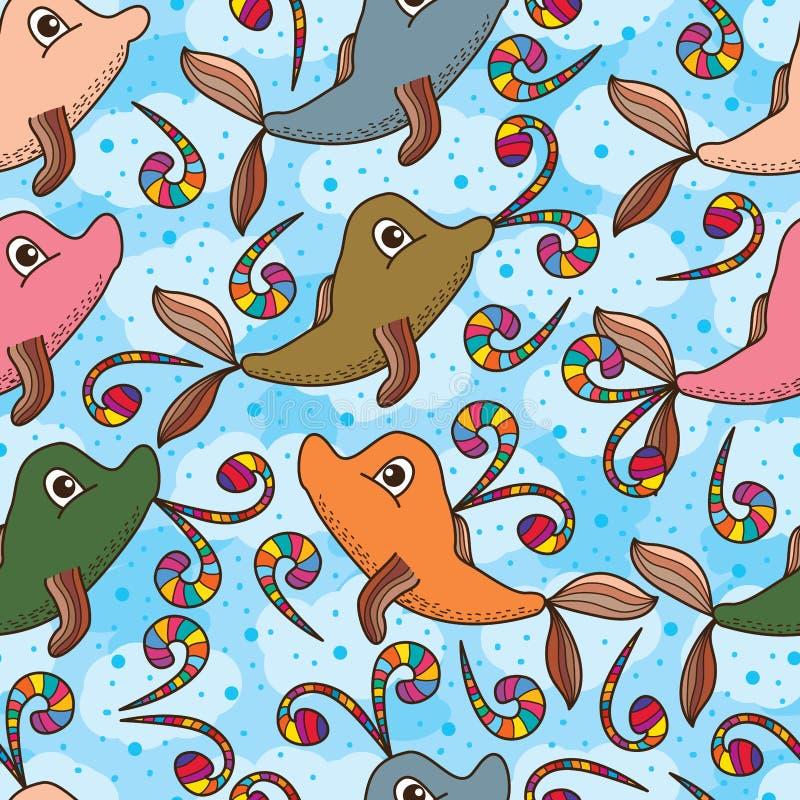 Gullig färgrik sömlös modell för valdelfinfluga stock illustrationer