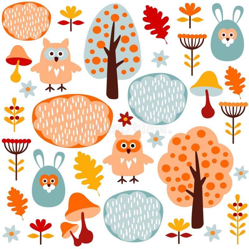 Gullig färgrik sömlös skogmodell med djur hare och uggla stock illustrationer