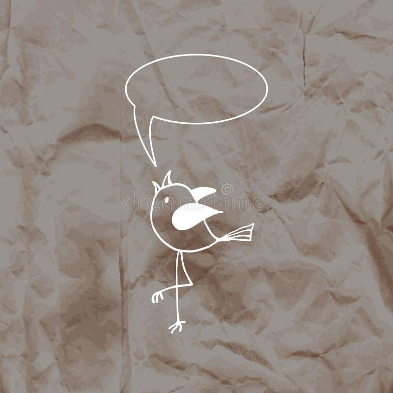 Gullig fågel i dendrog stilen på en bakgrund för kraft papper stock illustrationer
