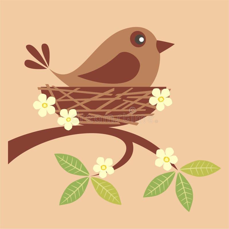 Gullig fågel i ett rede vektor illustrationer
