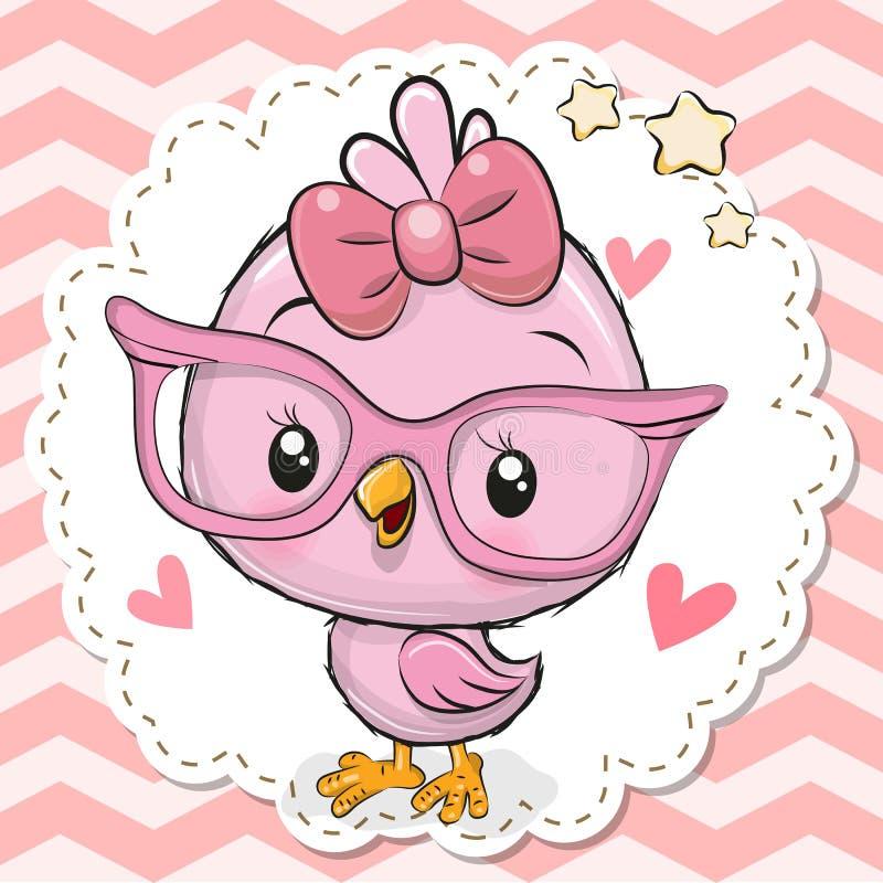 Gullig fågel i rosa glasögon stock illustrationer