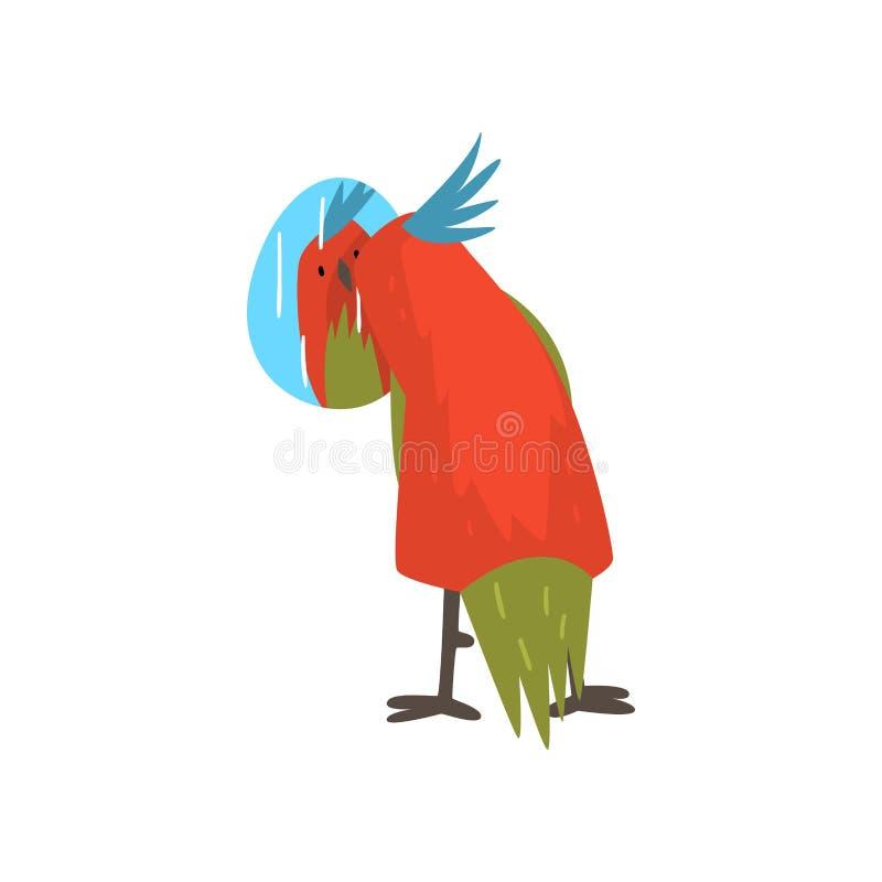 Gullig fågel Lookig på spegeln, roliga Birdie Cartoon Character med den ljusa färgrika fjädrar och tofsvektorillustrationen royaltyfri illustrationer