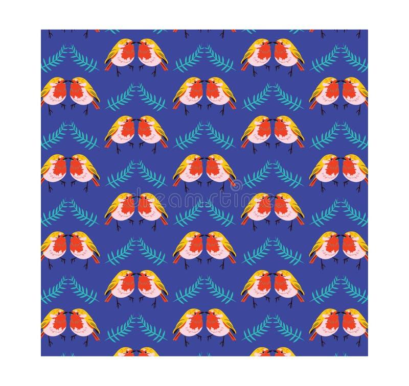 Gullig fågel med bladmodellen vektor illustrationer
