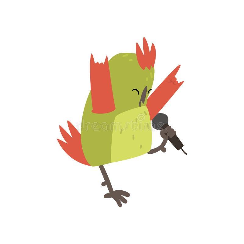 Gullig fågel som sjunger med mikrofonen, roliga Birdie Cartoon Character med ljust - grön fjädervektorillustration royaltyfri illustrationer
