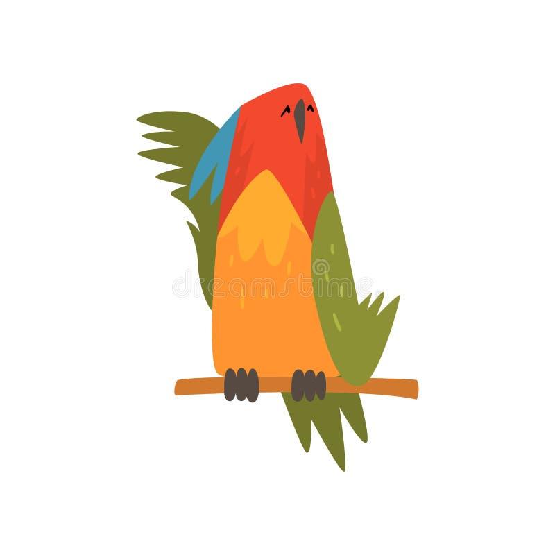Gullig fågel som ta sig en tupplur på, medan sitta på sittpinnen, roliga Birdie Cartoon Character med den ljusa färgrika fjädrar  stock illustrationer