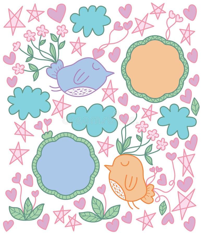 Gullig fågelblomma stock illustrationer