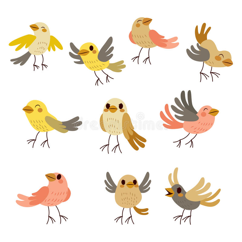gullig fågelsamling royaltyfri illustrationer