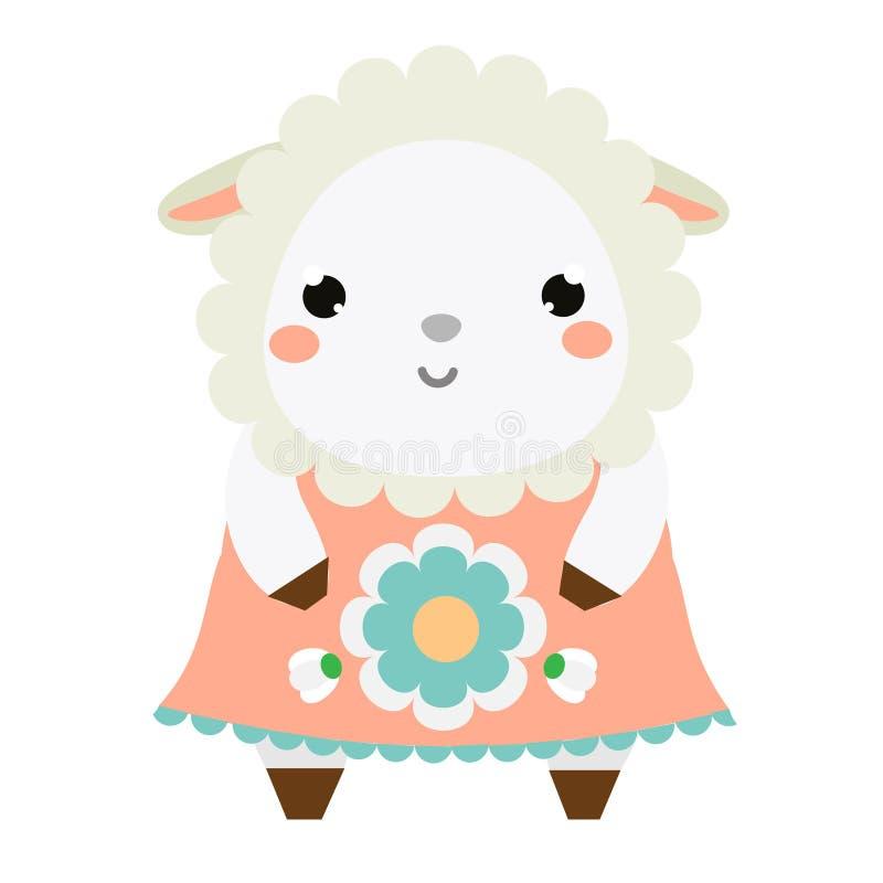 Gullig fårklänning Barn utformar, den isolerade designbeståndsdelen, vektor Tecken för tecknad filmkawaiidjur vektor illustrationer