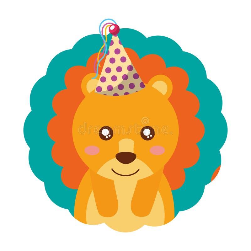 Gullig födelsedag för lejonpartihatt vektor illustrationer