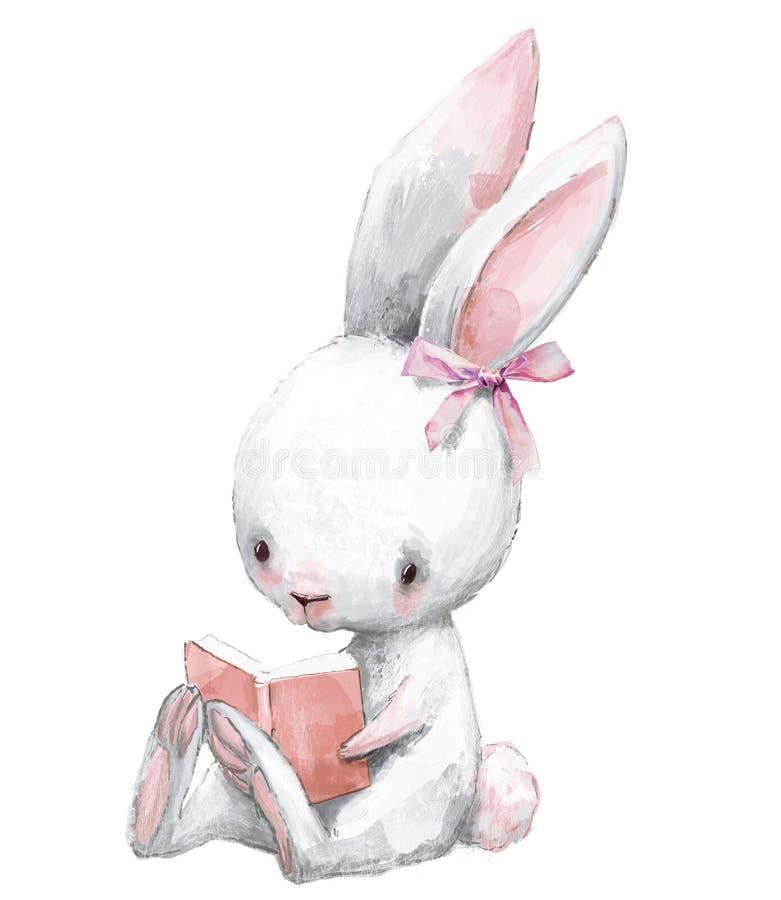 Gullig födelsedagtecknad filmhare med boken stock illustrationer