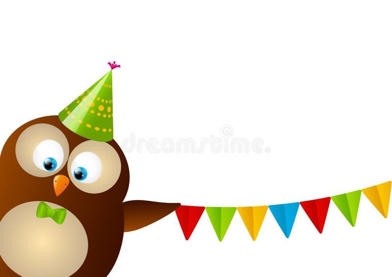 Gullig födelsedaguggla vektor illustrationer