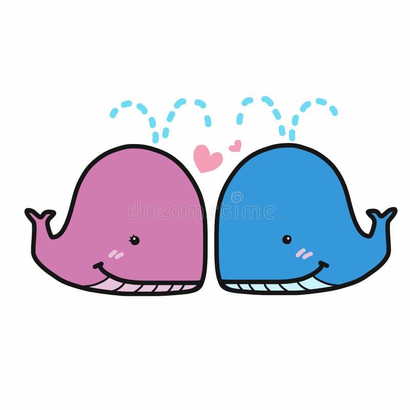 Gullig förälskad tecknad film för rosa och blåa parval royaltyfri illustrationer