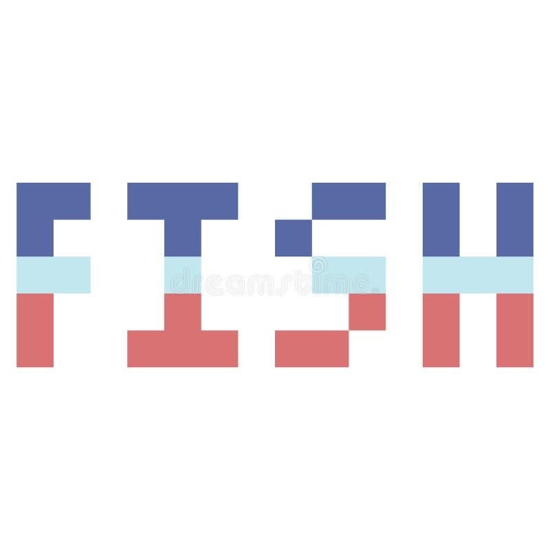 Gullig för fisksealife för 8 bit typografi Nautisk gemkonst för PIXEL stock illustrationer