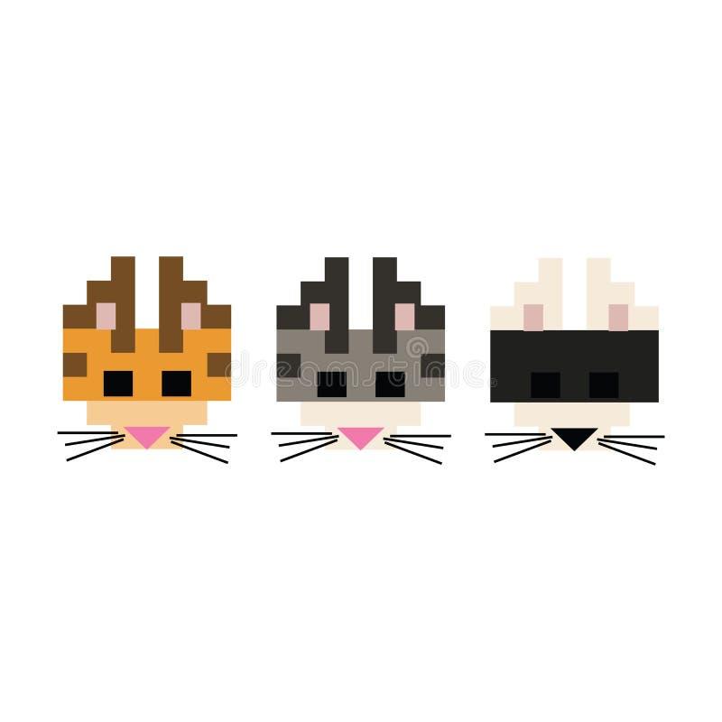 Gullig för kattavel för 8 bit illustration för vektor Katt- husdjurclipart för PIXEL royaltyfri illustrationer