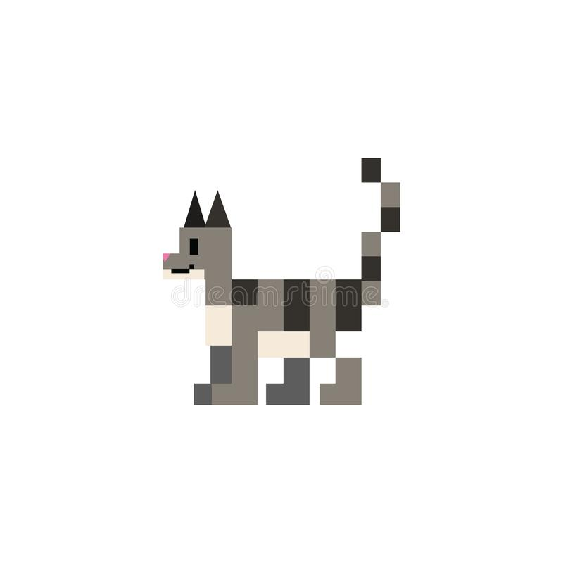 Gullig för kattvektor för 8 bit grå illustration Katt- husdjurclipart för PIXEL stock illustrationer