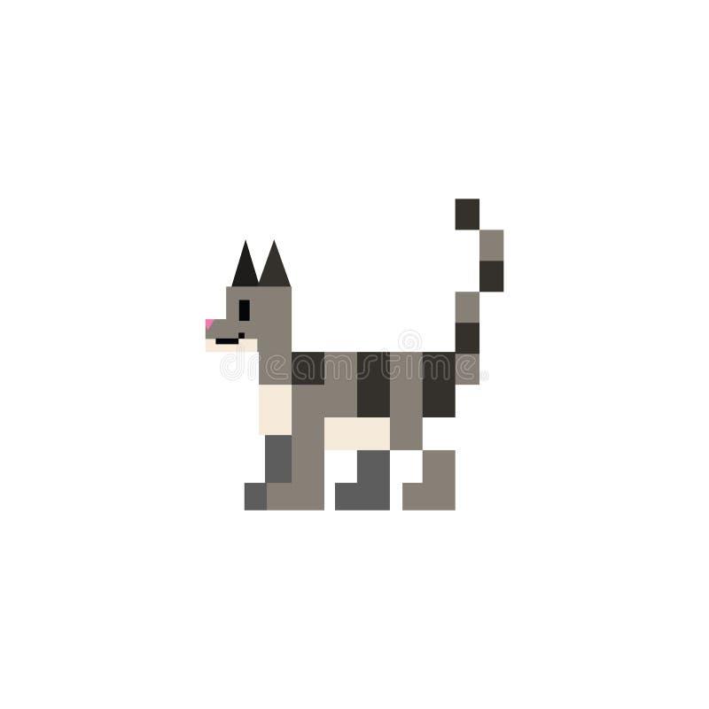 Gullig för kattvektor för 8 bit grå illustration Katt- husdjurclipart för PIXEL royaltyfri illustrationer