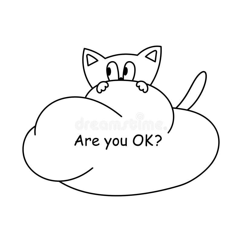 Gullig förskräckt tecknad filmkatt på ett moln ?r du som ?r ok Handbokst?ver planl?gg ditt stock illustrationer