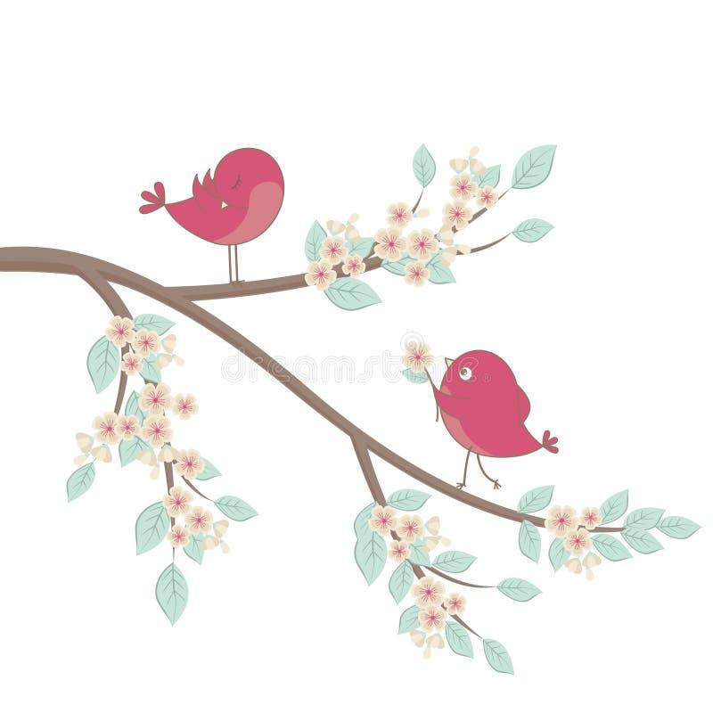 gullig förälskelse för fåglar stock illustrationer