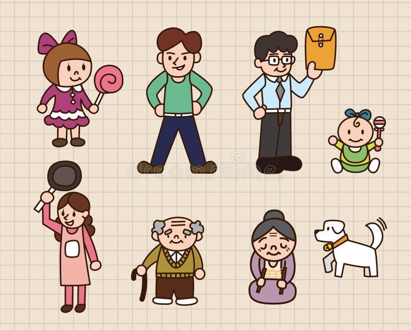 gullig familj för tecknad film stock illustrationer
