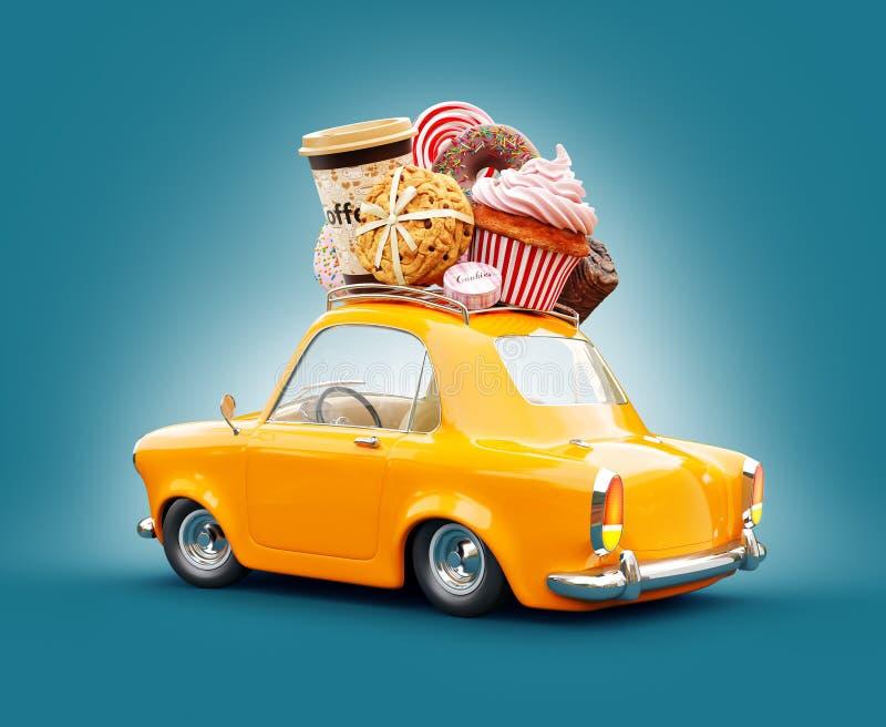 Gullig fantastisk chocoladebil med sötsaker och kaffe överst vektor illustrationer