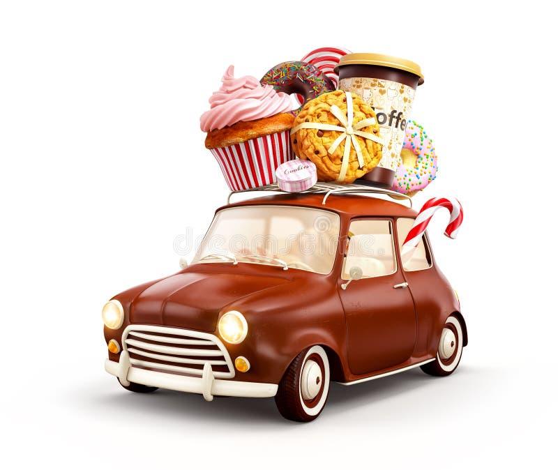 Gullig fantastisk chocoladebil med s?tsaker och kaffe ?verst vektor illustrationer