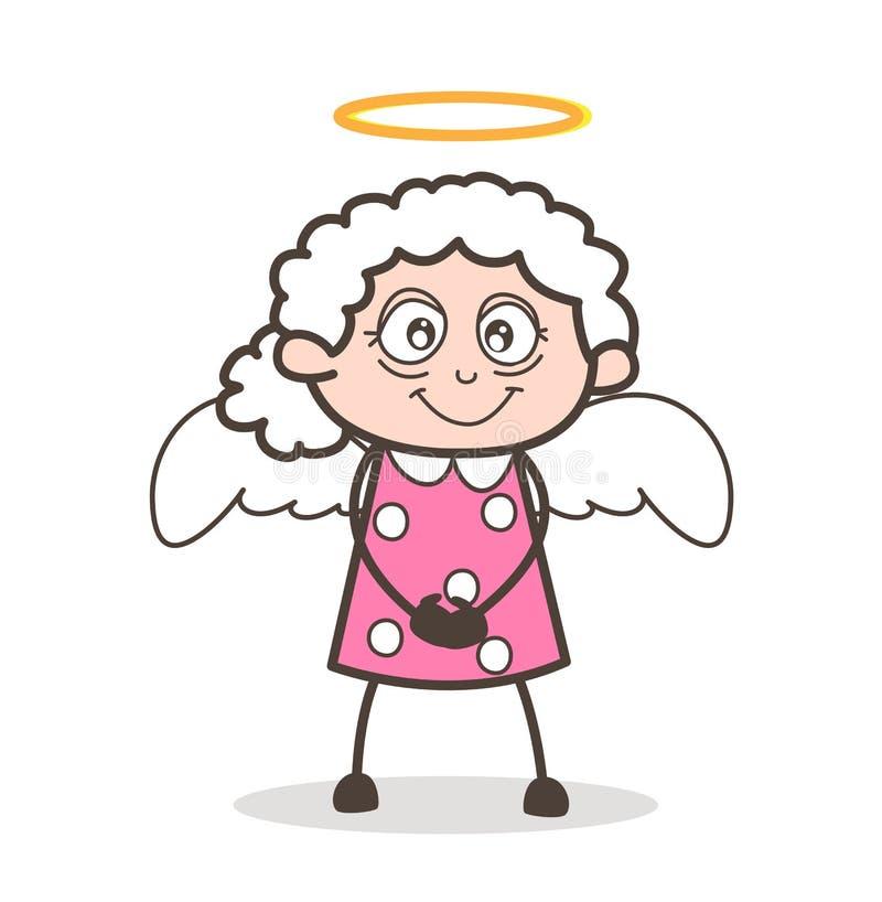 Gullig farmor Angel Vector Illustration för tecknad film royaltyfri illustrationer