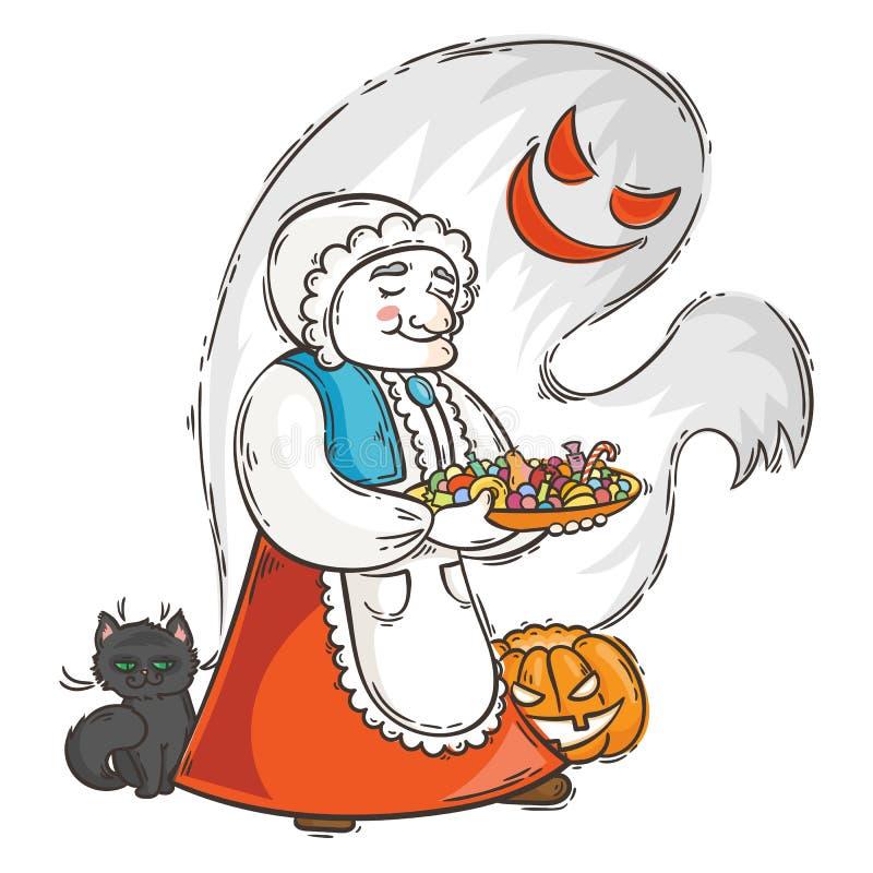 Gullig farmor med spöken och katten nära pumpa Allhelgonaaftonkort eller affisch royaltyfri illustrationer