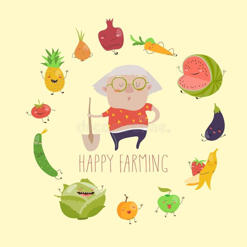 Gullig farmorbonde med roliga grönsaker royaltyfri illustrationer