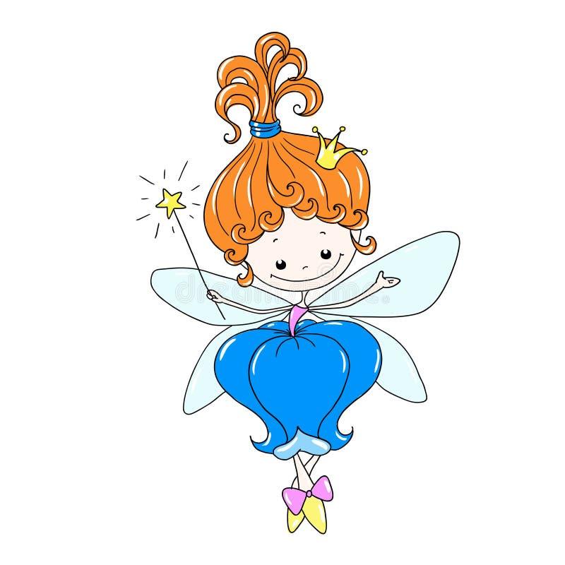Gullig fe för tecknad filmtecken Blommafe med en trollspö Fe i en blom- klänning Mytisk varelse med vingar stock illustrationer