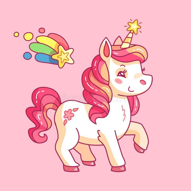 Gullig felik enhörning Tecknad filmregnbågeponny Flickaktig rosa vektorbakgrund för rolig häst stock illustrationer