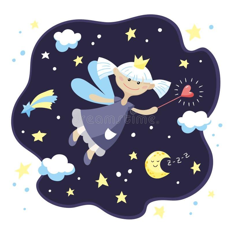 Gullig felik flicka med en trollspö i natthimlen arkivfoto