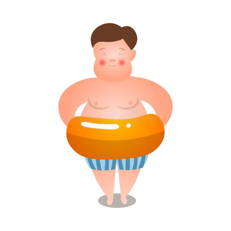 Gullig fet man, i att simma kortslutningar med den uppblåsbara cirkeln royaltyfri illustrationer