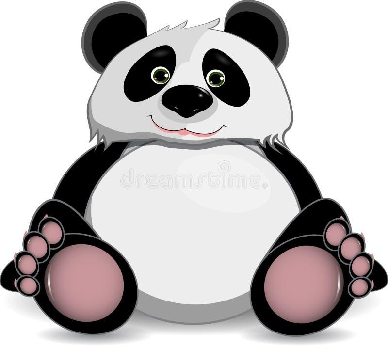 Gullig fet panda stock illustrationer