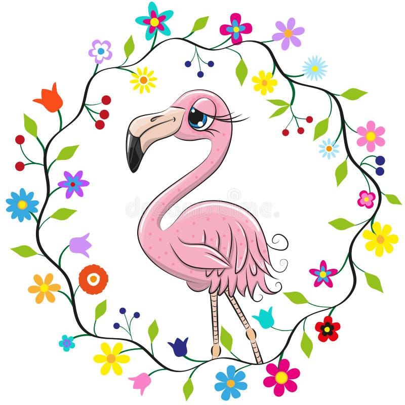 Gullig flamingo i en blommaram royaltyfri illustrationer
