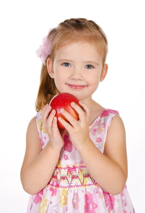 gullig flicka för äpple som rymmer little stående royaltyfri fotografi