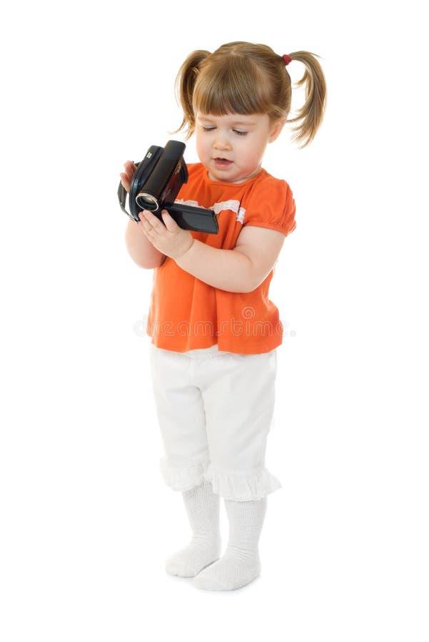 gullig flicka för camcoder little royaltyfria bilder