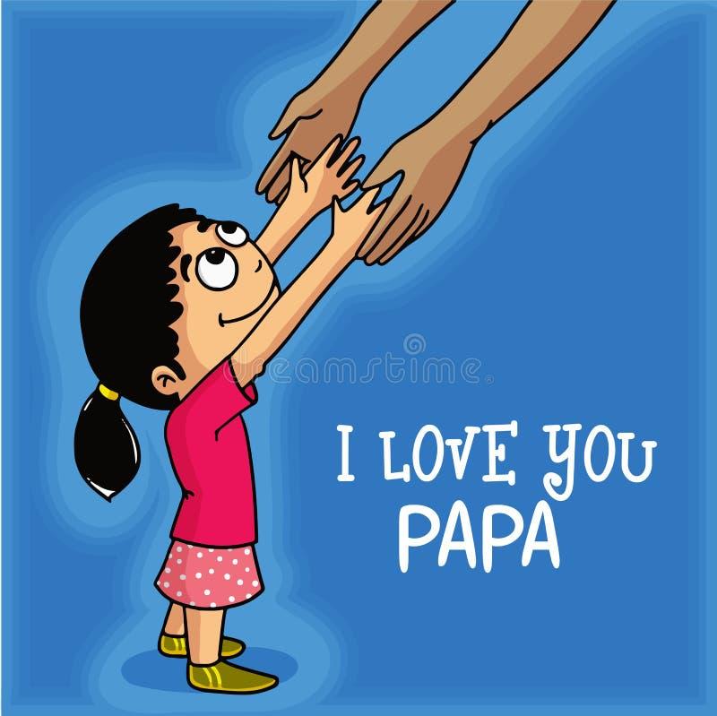 Gullig flicka för lycklig faders beröm för dag stock illustrationer