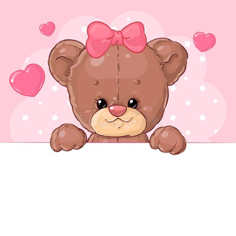 Gullig flicka för nallebjörn på en rosa bakgrund med hjärtor med ett baner Tecken f?r barn` s stock illustrationer