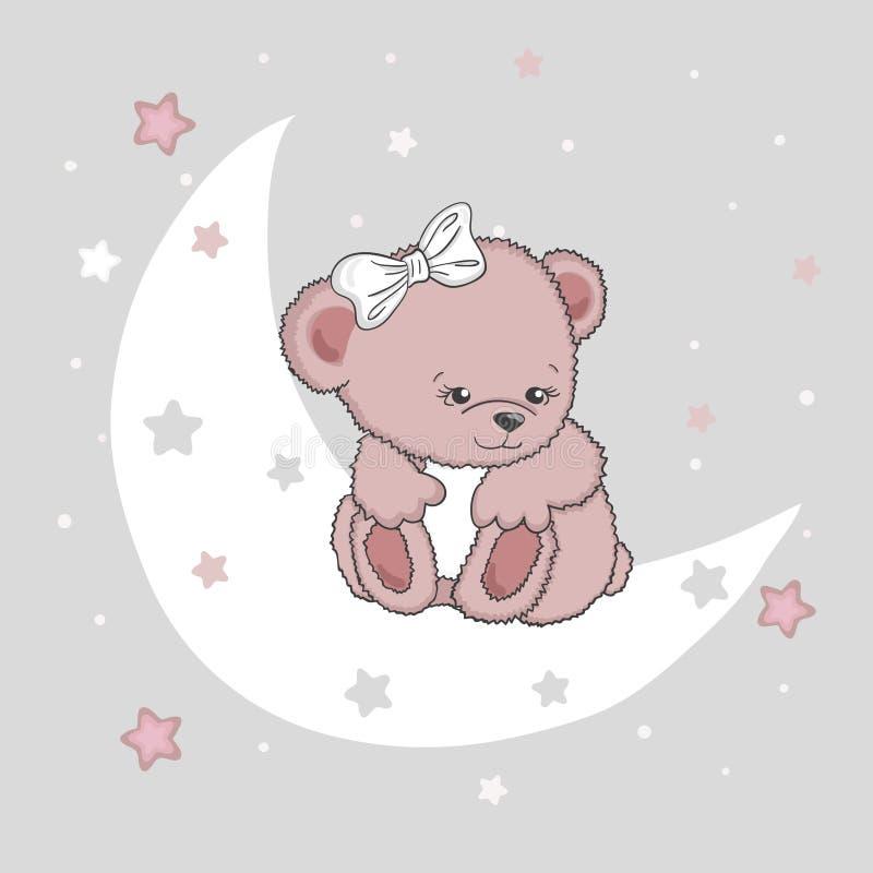 Gullig flicka för nallebjörn på månen royaltyfri illustrationer