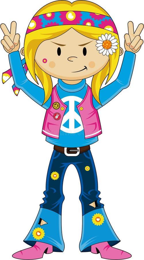 Gullig flicka för sextioflower powerhippie stock illustrationer
