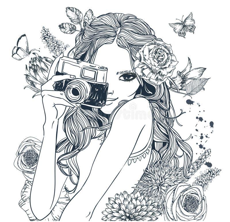 gullig flicka för tecknad film vektor illustrationer