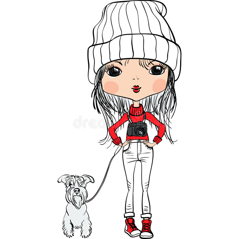 Gullig flicka för vektorhipster med en hund och en kamera vektor illustrationer