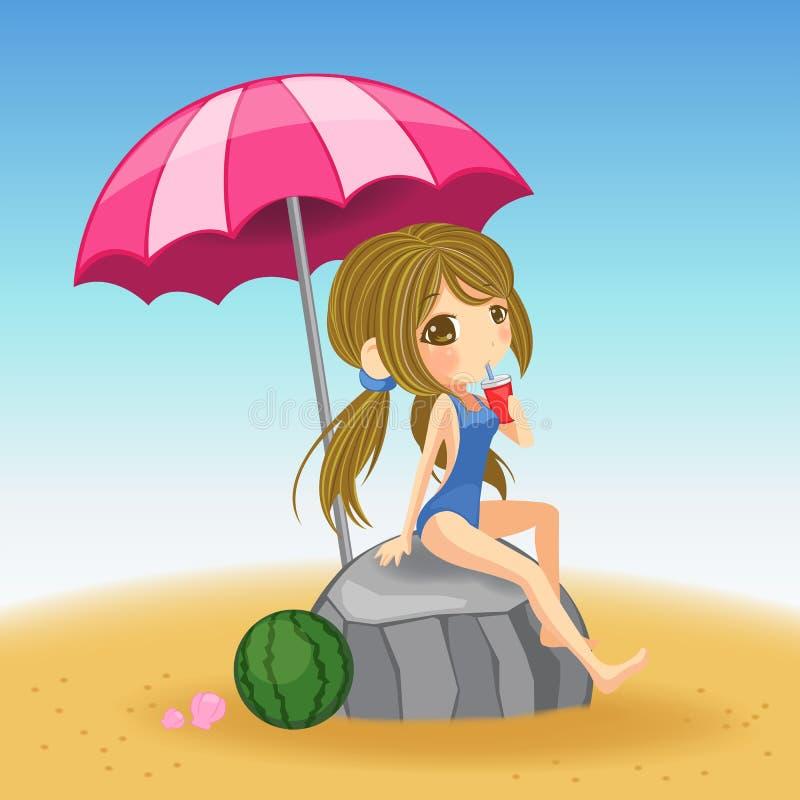 Gullig flicka i baddräkt som vilar på stranden stock illustrationer